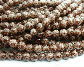 8mm Dark Brown Mottled Round Glass Beads - Smooth, Shiny Beads - 25pcs - BN15