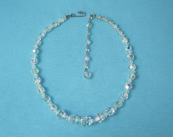 Necklace Faceted Crystal Beads Aurora Borealis Adjustable Signed Continental Vintage c. 1950s