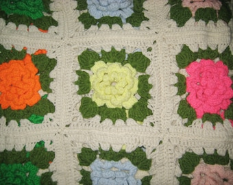 VINTAGE ROSETTE AFGHAN Blanket Couch Throw Handmade Crocheted Cottage Shabby Chic Flowers Ivory Light Blue Yellow Hot Pink Orange & Green