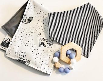 Baby Gift Set //bandana bib//silicone teething ring//security blanket