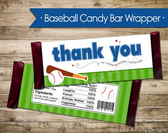 Slugger Baseball Candy Bar Wrapper - Instant Download