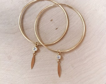 40mm Gold Filled Endless Hoop Earrings With CZ and Geometric Charm Drops