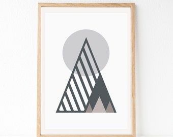 Scandinavian Art, Grey Modern Print, Nordic Art, Geometric Art Print, Mountain Geometric Art, Scandinavian Print, Geometric Mountain, Grey