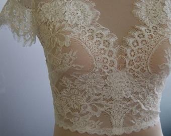 Wedding bolero, top, jacket of lace,alencon, sleeves, . Unique, Exclusive Romantic bridal lace bolero EDNA