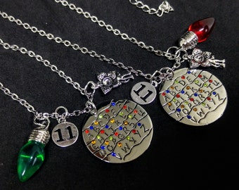 Stranger Things inspired, handstamped pendant and charms, Christmas light bulbs, Demogorgon, monster charm, Eleven, Alphabet Wall