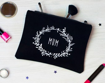 Mum Make Up Bag | Cosmetic Purse | Flower Wreath | Mothers Day Gift | For Her | Birthday