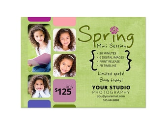 Mini Sessions Template - 5x7 Spring Marketing Board 002 for Photoshop and Photoshop Elements