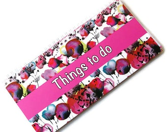 Things to do Notepad, note pad, spiral bound notepad, shopping list, floral notepad, notes, ruled paper, lined paper, desk planner