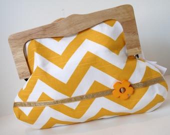 Yellow & White Chevron Clutch, Handmade Unique Clutch Bag, Wooden Frame Clutch Bag, Girls Night Out Clutch, Clutch Purse - Chloe Clutch