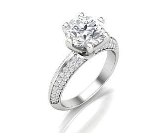 Round Cut Moissanite Diamond Engagement Ring - 2ct Forever One Moissanite Diamond Ring - Charles & Colvard 8mm Round Moissanite Diamond Ring