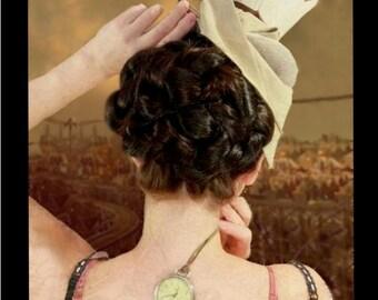 steampunk wedding costume hair style victorian regency reenactment hair accessory Updo historical hair piece hairpiece chignon bun holder