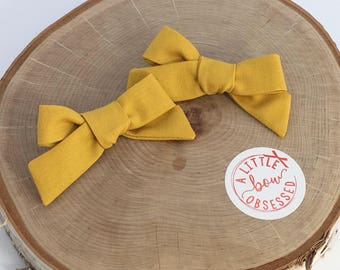 Mustard Cotton Schoolgirl Hair Bow, Single Bow or Pigtail Set, Clip or Nylon Headband, Girls Hair Bows, Solid Hair Bow
