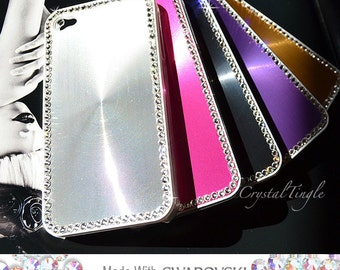 Designer Inspired Modern Aluminum Metallic Case for iPhone 5S Made w/ Swarovski Diamond Crystals Rose Red Black Pink Purple Gold Silver
