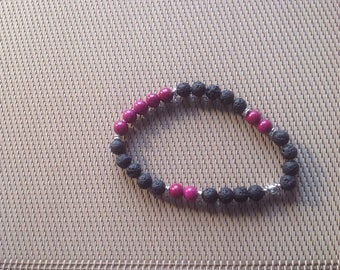 Bracelet lava stone and Burgundy pearls