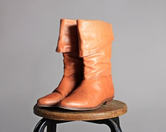 Vintage Leather Cuffed Boots - Brown Tan Orange Leather Flat Heel Tall Pointed Boots 1980s Boots - Size 7