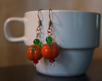 Glass Pumpkin Earrings, Copper or Silver