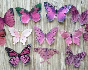 12 Romantic Pink Edible Butterflies Cake & Cupcake Toppers,