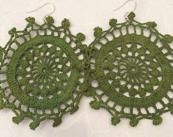 Green doily earrings, crochet earrings, gift for her, statement earrings