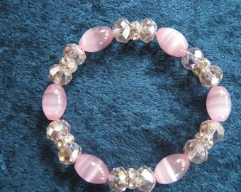Pink Cat's Eye Beads, Pink Glass Beads Stretchy Bracelet