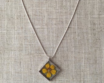 Pressed flower glass necklace