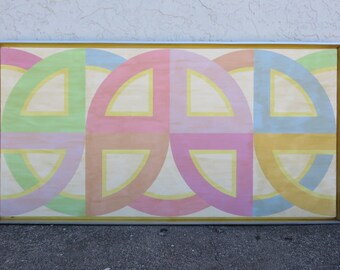 Large Abstract By Beverly R. Waltner, 1970's Mid-Century Modern Contemporary Acrylic Painting On Canvas.