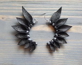 Black Leather Earrings, Statement Earrings, Gemstone Earrings, Boho Earrings, Bohemian Earrings, Statement Jewelry, Handmade Earrings.