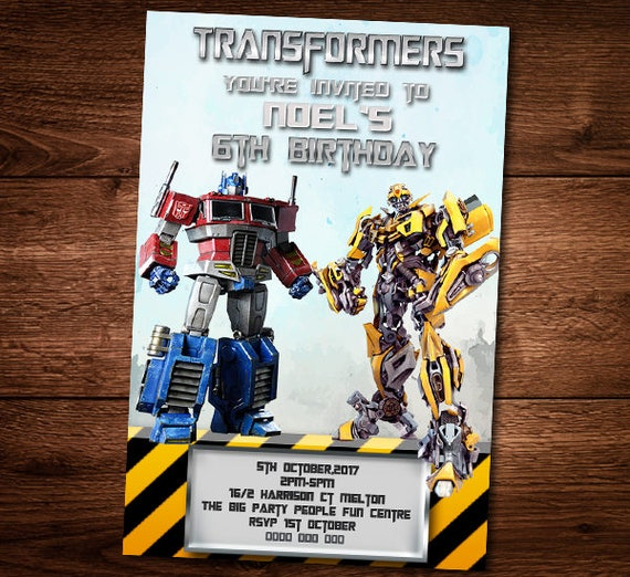 Transformers Birthday invitation Card Bumble Bee Optimus