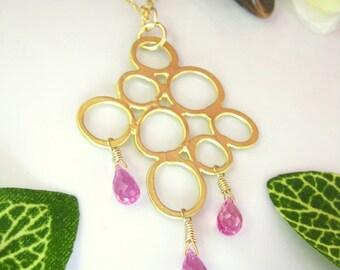Gold bubble pendant hot pink quartz necklace, pink gold bubble pendant, magenta gold bubble necklace, Valentines Day pink bubble necklace