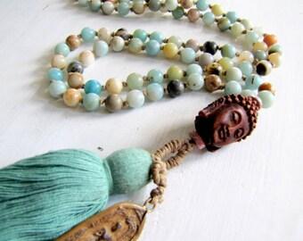 108 Bead Knotted Mala Necklace Mala Beads Buddhist Mala Buddha Necklace Meditation Beads Buddhist Prayer Beads Japa  Mala Amazonite Mala