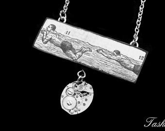 Steampunk Wooden Swimming Necklace, Vintage Long Silver Watch Movement Pendant, Antique Ephemera, Boho Jewelry