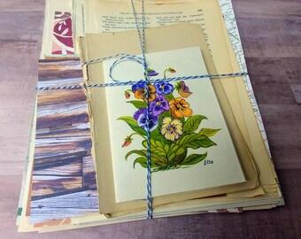 Vintage art journal kit. Junk Journal. Smash book. Paper pack
