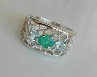 Mens Sterling Silver Stone Ring, Aquamarine Sterling Silver Ring, Emerald Men, Mens Ring, Mens Sterling Silver Ring, Mens Gift,