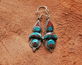 Nepal Earrings Tibetan Silver Inlaid with Stone