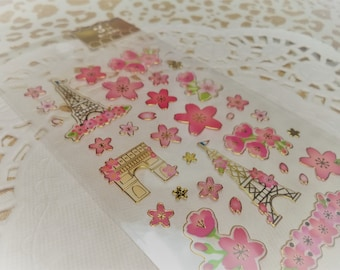 Cute Sticker Sheet Paris Cherry Blossoms planner, scrapbooking for letters, labels, tags, Snail Mail, Diy, School, crafts, Resin, Books.