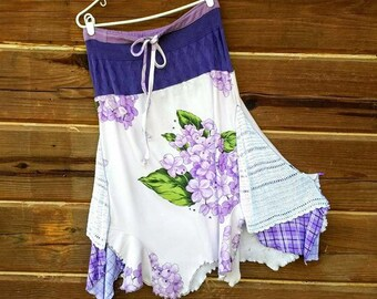 Redesigned Skirt in Violet Purple and Green Upcycled OOAK and a drawstring waist. Big flowers, check accents and uneven hem. CUTE!