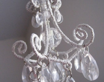 Shabby Chic White Teeny Car Chandelier Unlit MADE TO ORDER