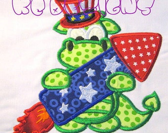 4th of July Dragon Shirt - Appliqued and Embroidered