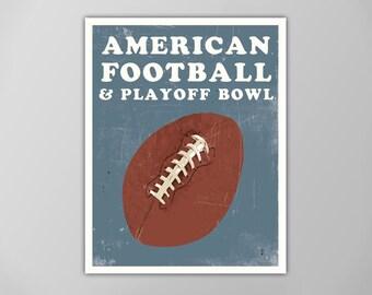 Football Sports Poster, Sports Art, Football Art Print, Vintage Style Sports Poster, Football Sports Art, Sports Posters, Football Art Print