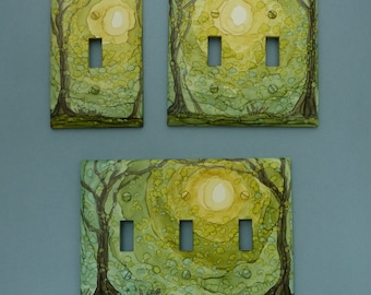 In The Forest - Choose Your Style of Light Switch Cover, Painted with Alcohol Ink