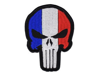 French Flag Punisher embroidered Patch