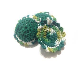 June Bug Ombre Crocheted Cotton And Nylon Netting Dish Scrubbies- Trio