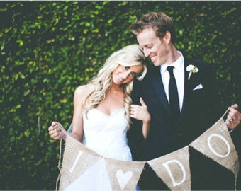 I DO Glittered Burlap Banner with Tattoo's