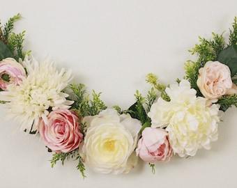 Flower garland, bohemian flower garland, baby shower garland, floral wall hanging, chair garland, floral garland, highchair banner