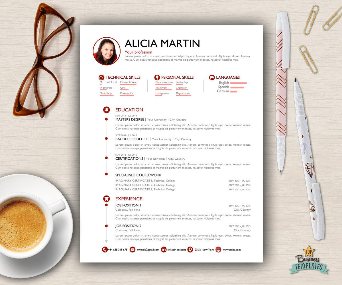 Vorlage Lebenslauf Anschreiben 2 Seite A4 CV & USA Brief