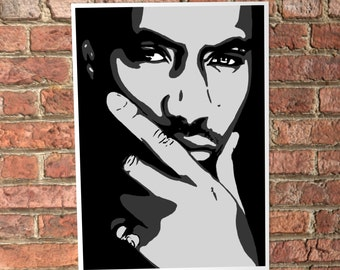 Nas Digital Painting  Digital artwork Print, Rap Posters Nas, big nas art, music poster, rap painting, american hip hop, nas print, wall art