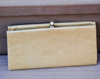 Vintage 1960's Shimmering Gold Clutch With Pearl Bead Closure
