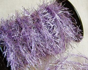 Lavender Tinsel cording trim- novelty garland, specialty glitter trimming, holiday gift wrap, sparkly twine- 5 yds