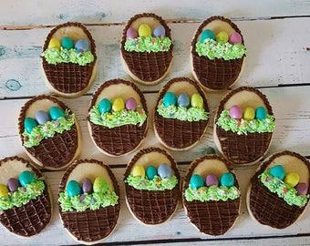 12 Milk Chocolate Easter Basket Sugar Cookies