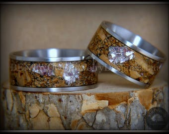 Bentwood Rings - Mediterranean Oak Burl Wooden Rings on Surgical Steel Metal Core Amethyst Glass Inlay