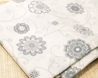 Abstract Floral Fabric - Paparazzi Vines & Flowers  by Red Rooster Fabrics 22275-GRY1 -  Remnant 30 Inch